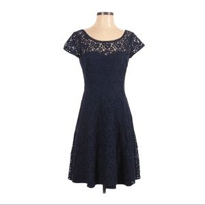 WHBM Navy Floral Lace Dress